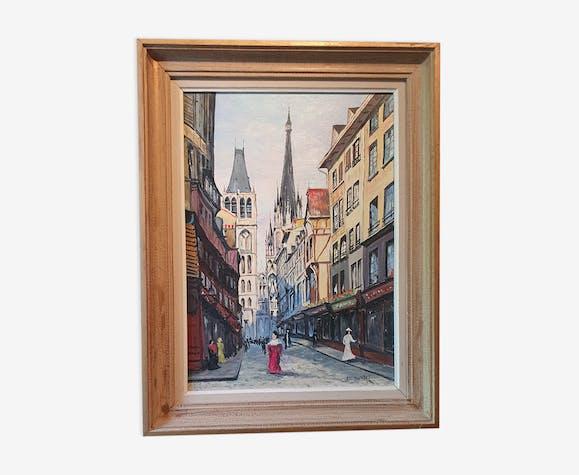 Huile sur toile rue Gros horloge à Rouen