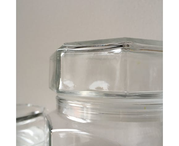 Lot of octagonal end glass jars