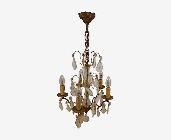 Lustre suspension à pampilles bronze design Lucien Gau style Louis XVI
