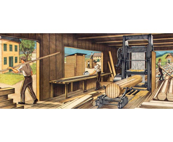 """Poster """"Wood Store"""" Educational Grid 1912"""