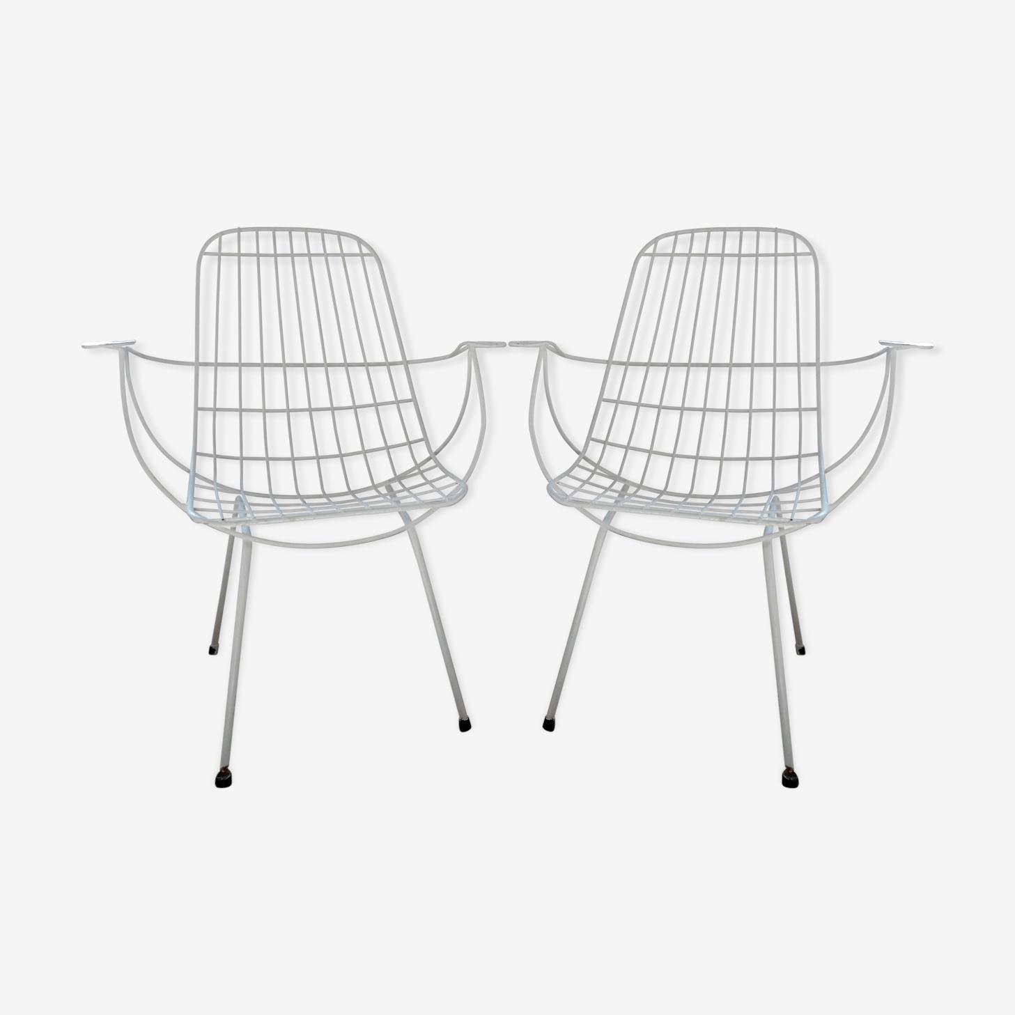 Pair of modernist garden armchairs years 60