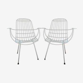 Paire de fauteuils de jardin modernistes années 60