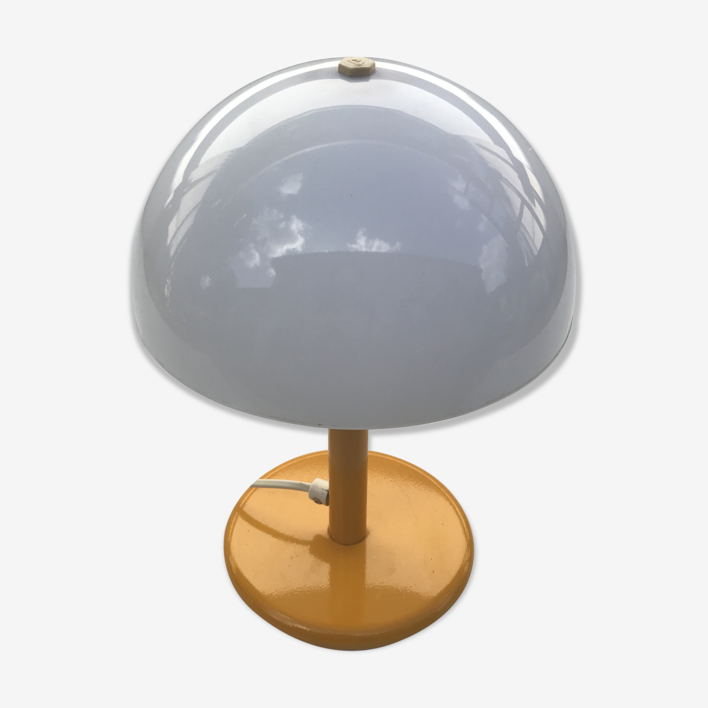 Lampe Champignon Aluminor Des Annees 70 Vintage Metal Yellow