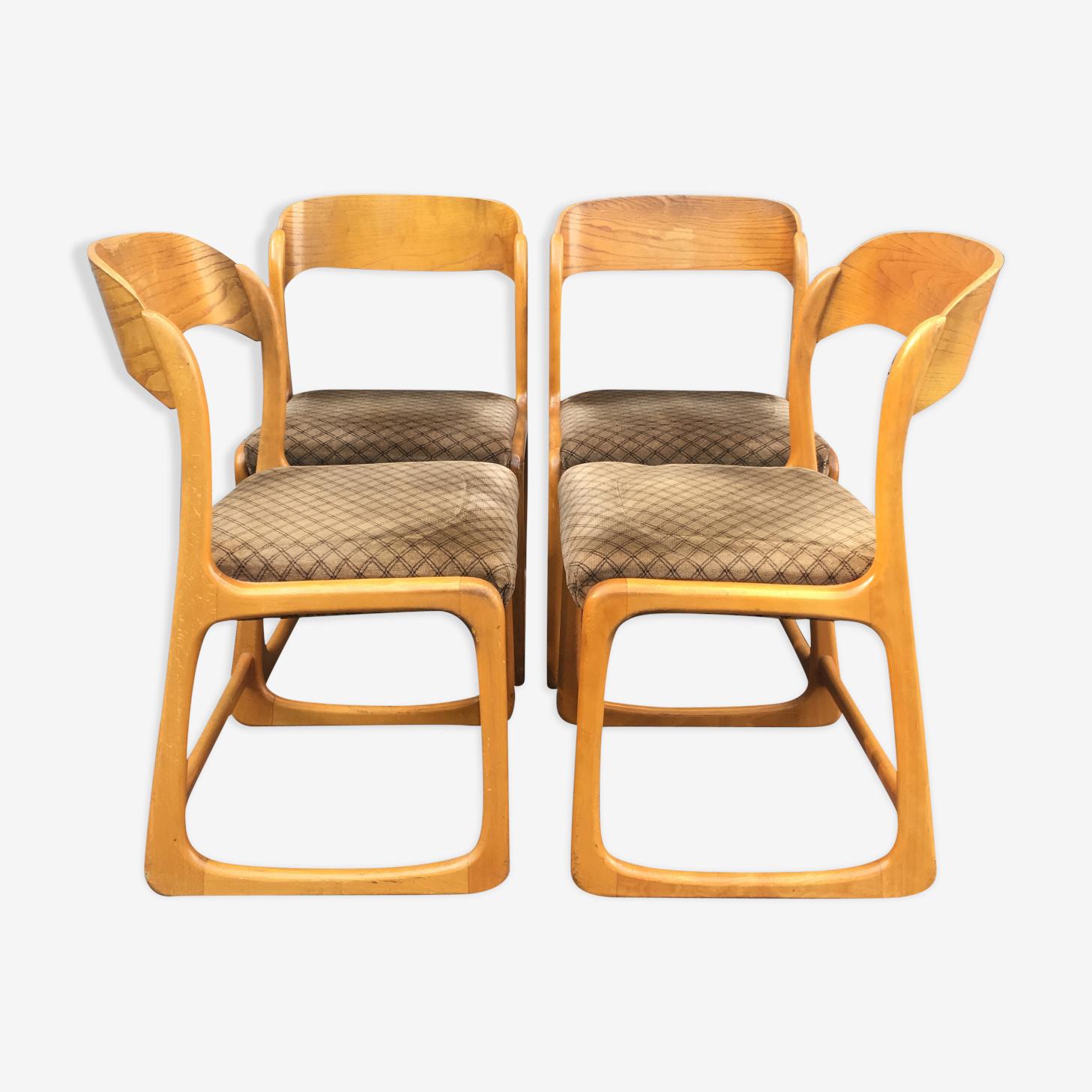 Baumann suite de 4 chaises traîneau
