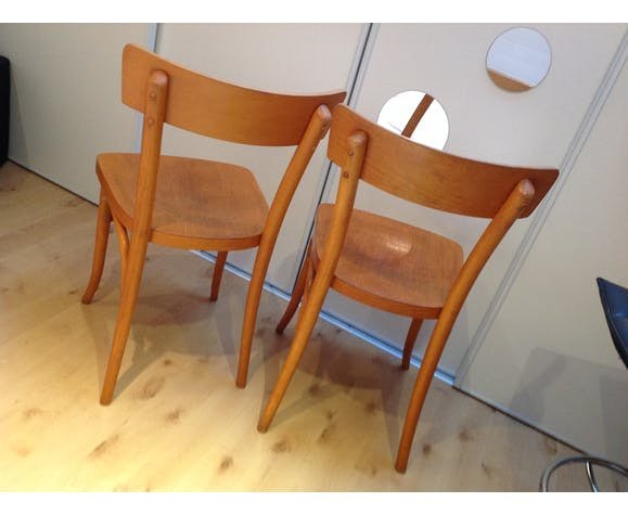 Pair of Thonet bistro chairs, 30-40s