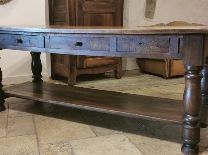 Table de drapier en noyer XIX