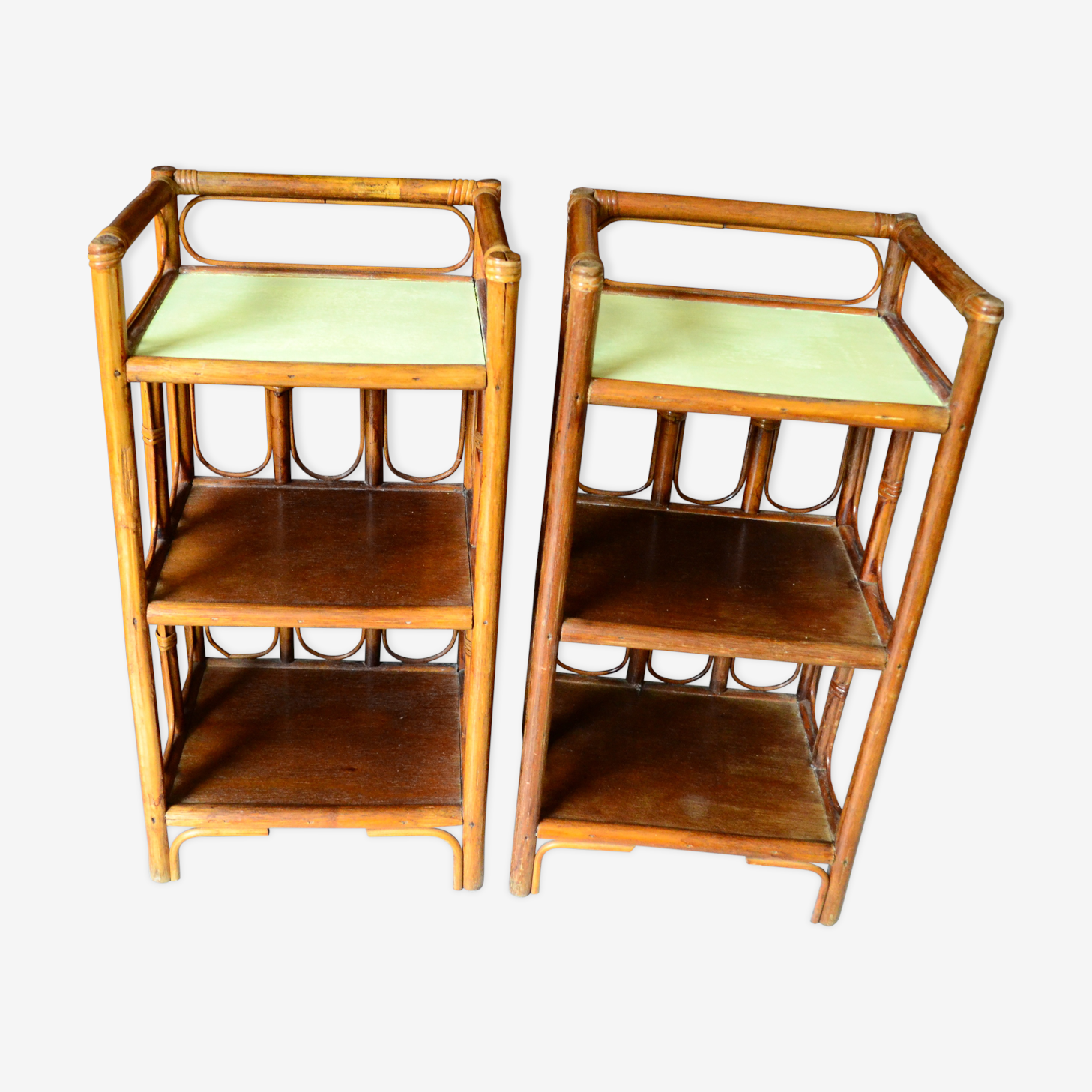 2 bamboo rattan bedside tables years 60 70