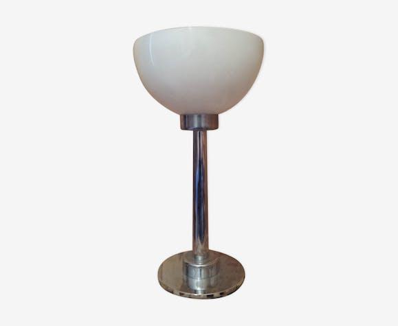 Lampe A Pied Chrome Abat Jour Vasque En Opaline Blanche Metal