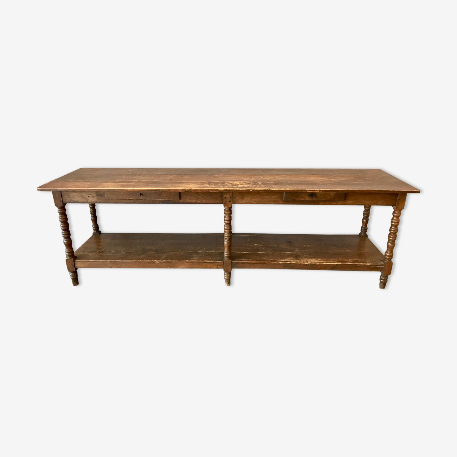 Table de drapier fin XIXème en chêne et sapin