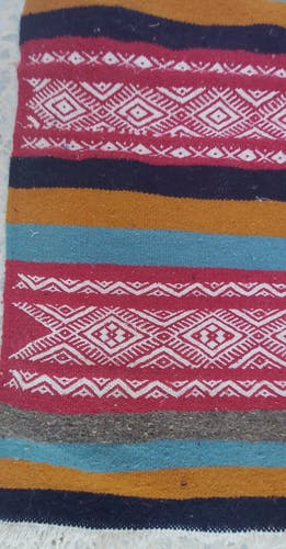 Tapis ethnique traditionnel multicolore en pure laine 110x60cm