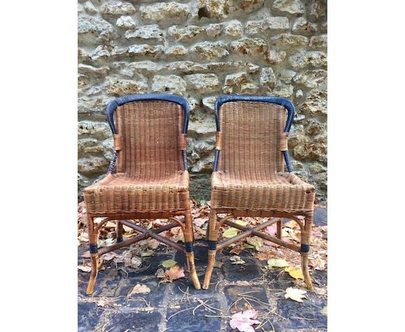 Paire de chaises en osier début XX eme siècle