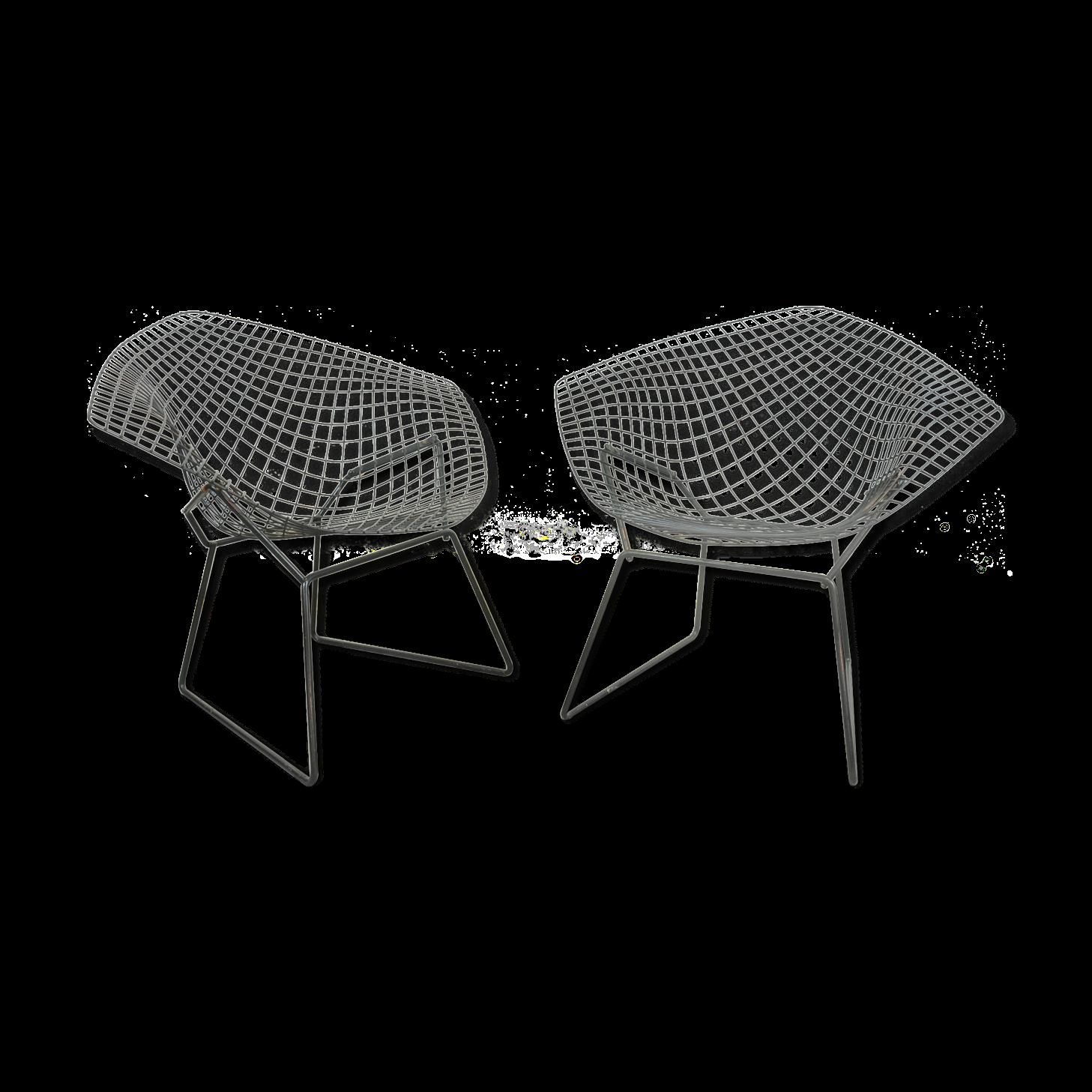 Paire de fauteuils Diamond de Harry Bertoia pour Knoll de 1958