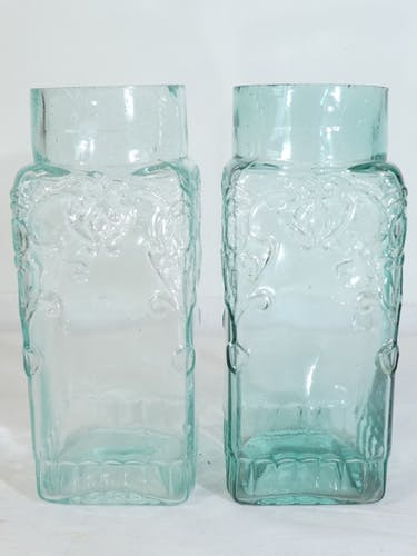 Paire de bocaux bleu a bonbon, epice ou pharmacie en verre