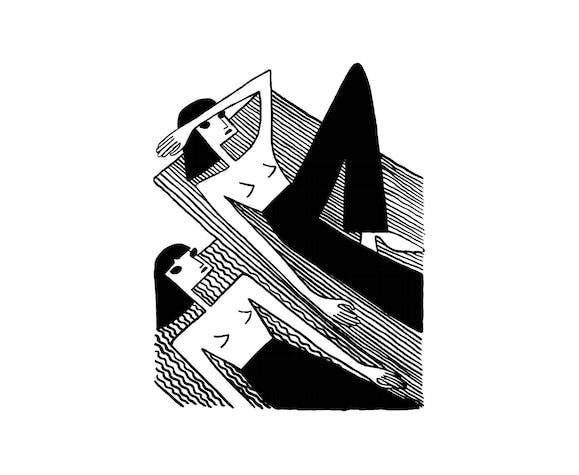 Les baigneuses, sérigraphie