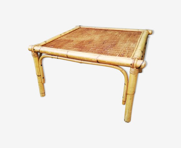 Belle table basse vintage rotin 60