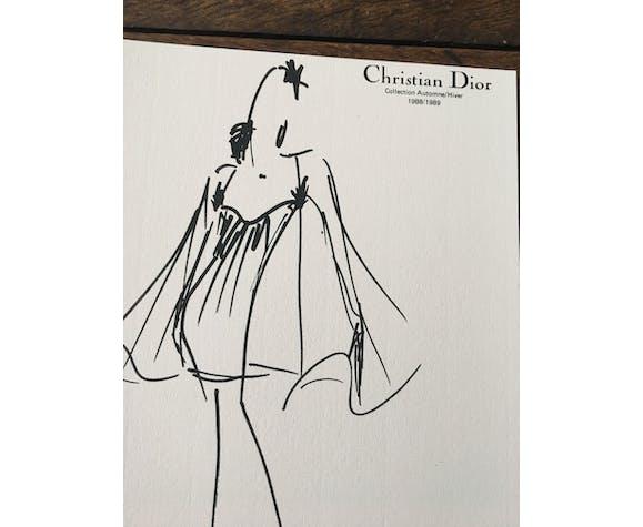 Christian Dior: black and white press fashion illustration - Collection 1988/1989