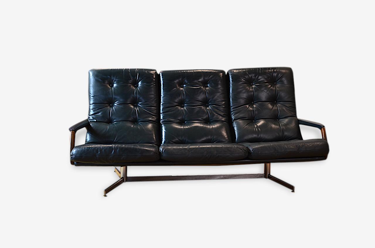 Banquette cuir design vintage rétro année 1960 cuir noir