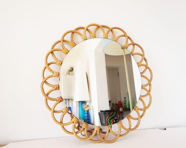 Miroir fleur en rotin, 1970