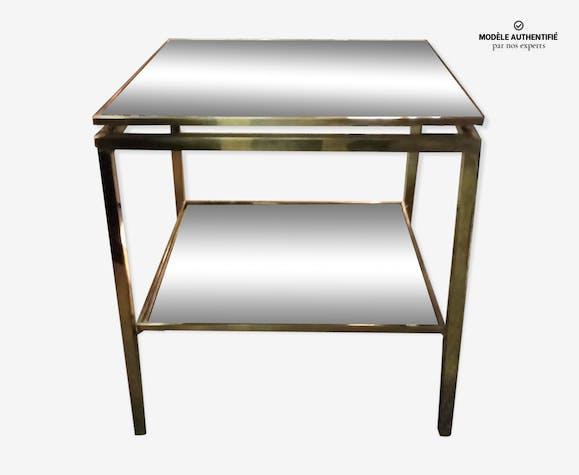 Table de salon Guy Lefèvre en laiton et miroirs oxydés