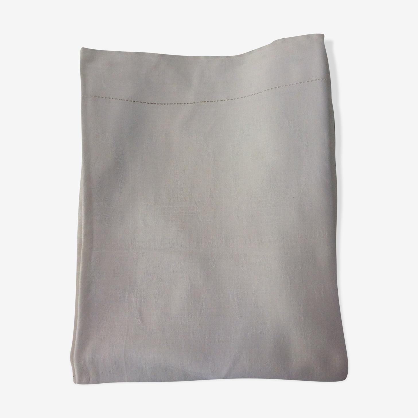 Nappe en coton blanc avec petite broderie 125x135 cm