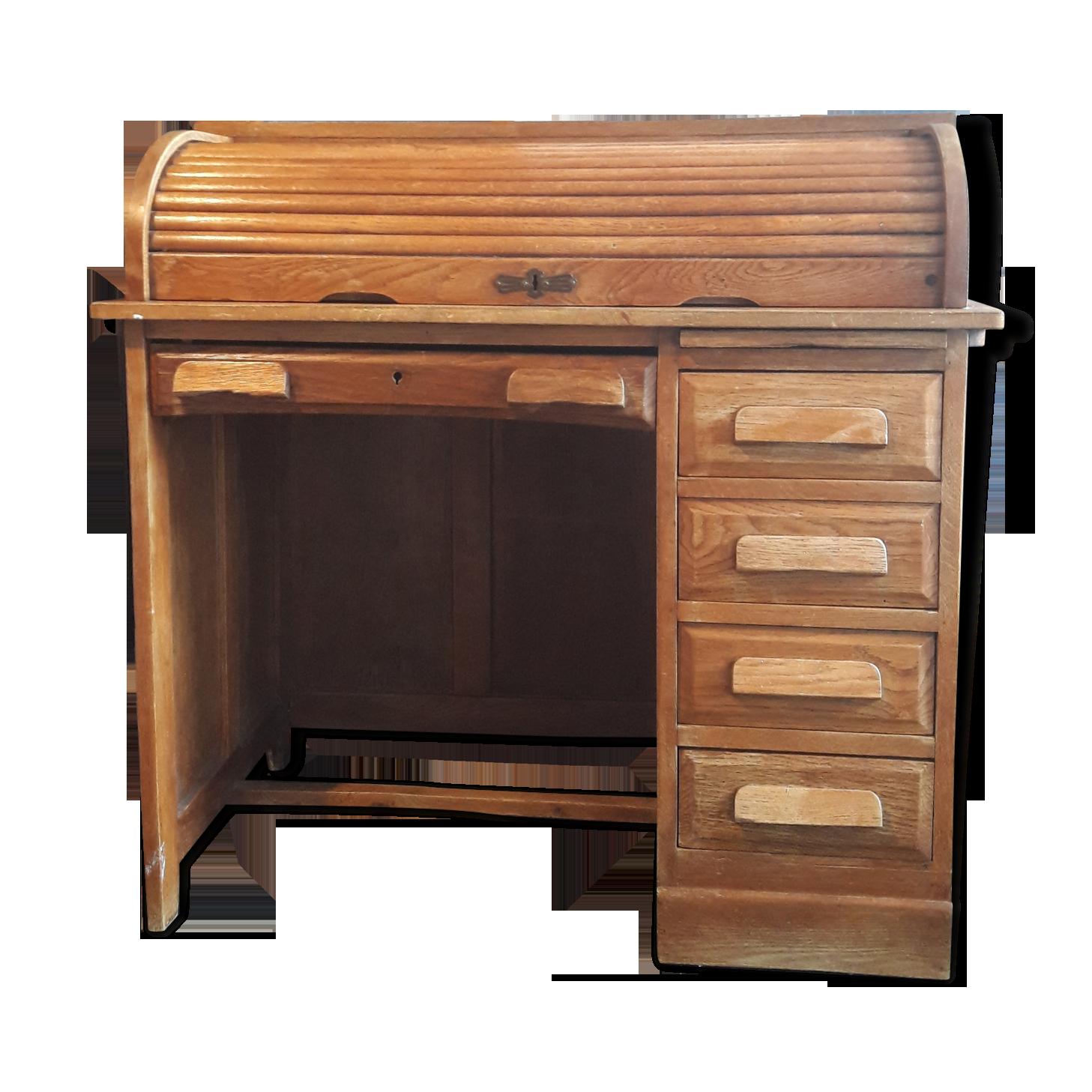 Bureau ancien à rideau bois matériau bois couleur