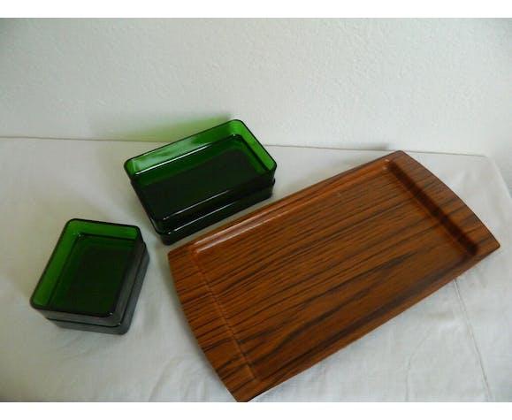 Plateau à apéritif vereco fumé vert vintage