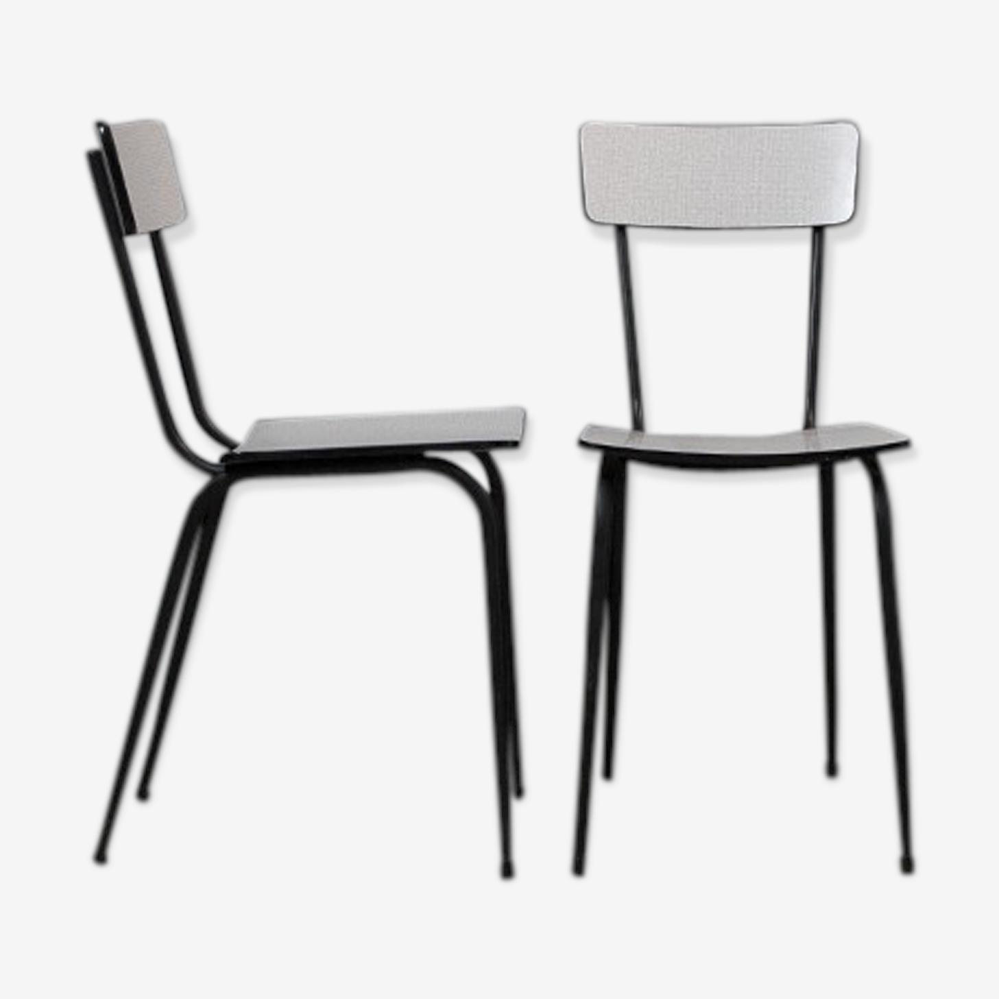 Ensemble de 2 chaises en Formica blanc/gris