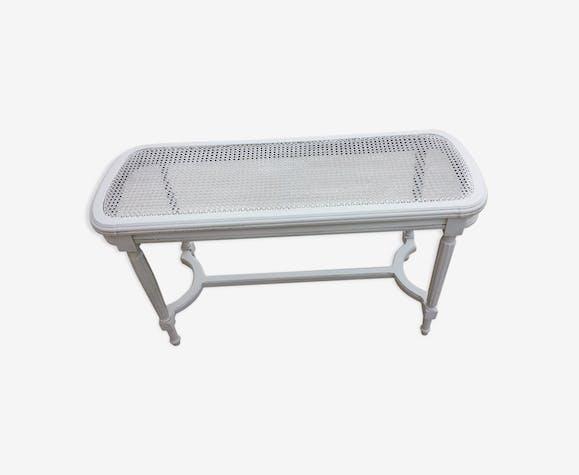 Banquette de piano ancienne patinée en blanc