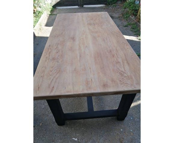 Table de ferme ancienne en chêne massif type industriel