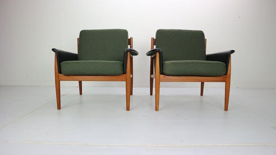 Paire de fauteuils par Grete Jalk pour France & Son années 60, Danemark