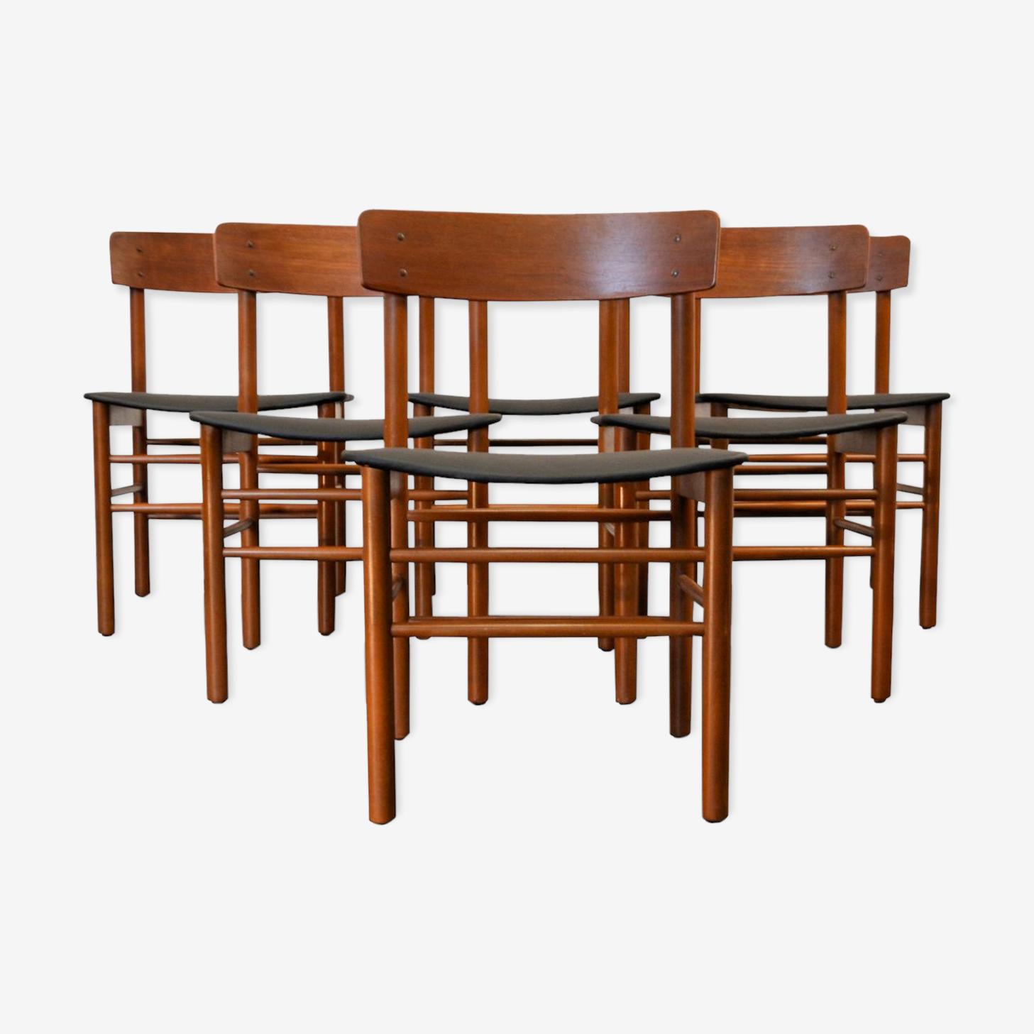 Set de 6 chaises vintage Farstrup en  teck
