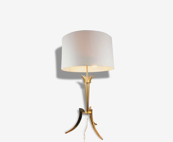 tripod table lamp in golden brass 1960