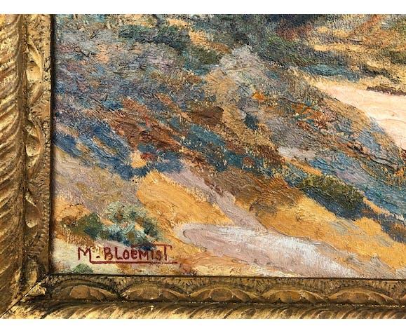 """Huile sur panneau, """" Porquerolles """", signée M. Bloemist, XXème"""