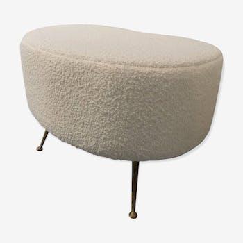 Stool re-upholstered bean Italian 1960