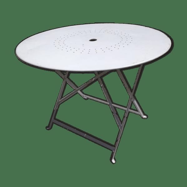Table de jardin pliante ancienne - métal - blanc - bon état - classique -  iafYIgQ
