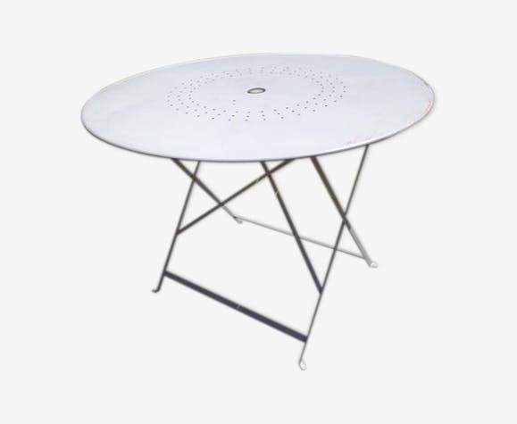 Table de jardin pliante ancienne - métal - blanc - classique - iafYIgQ