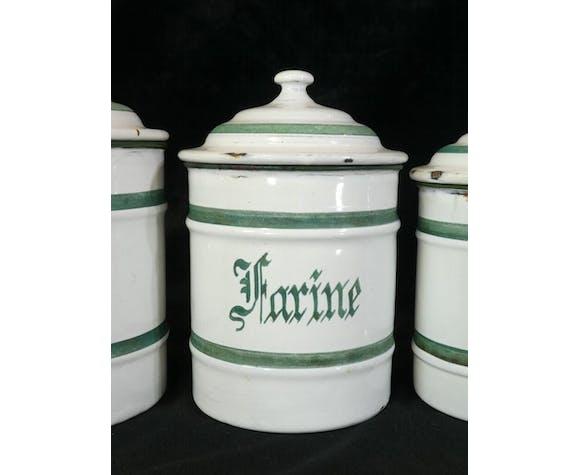 Série 6 pot à épices en tole émaillée blanche inscription vert etoile p.e.n