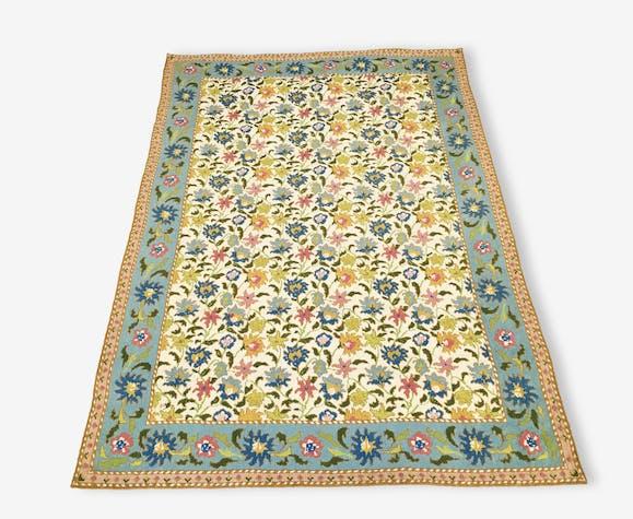 tapis fait main du portugal arraiolos 190x130 cm tissu beige scandinave 138028. Black Bedroom Furniture Sets. Home Design Ideas