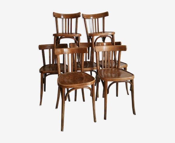 Lot de 7 chaises bistrot patinées