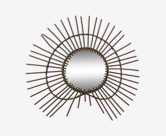 Miroir vintage en rotin 55x52 cm
