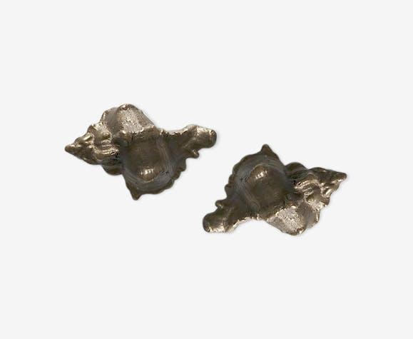 Paire de coquillages en bronze massif