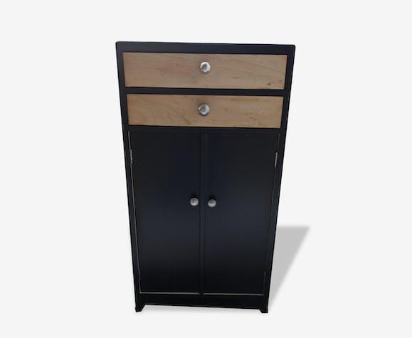 Petit meuble d 39 appoint bois mat riau noir vintage - Petit meuble d appoint salon ...