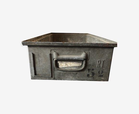 Panier casier en métal zingué ancien - métal - gris ...