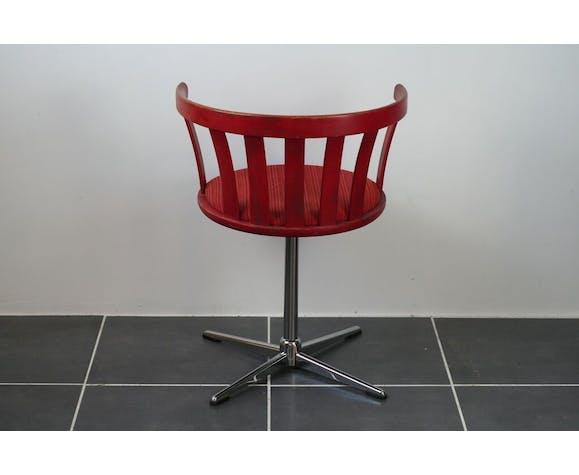 Fauteuil de bureau pivotant rouge vintage 70