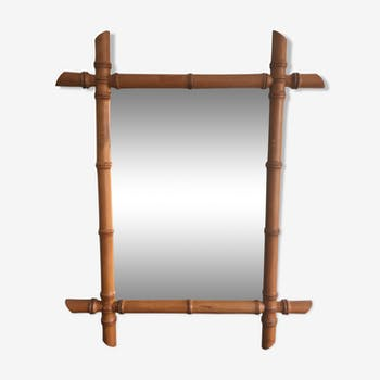 Miroir 48x60cm cadre en bois sculpté bambou