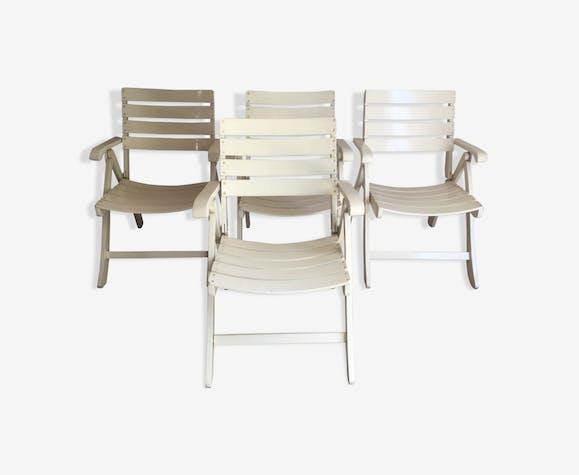 4 fauteuils de jardin pliants vintage - bois (Matériau ...