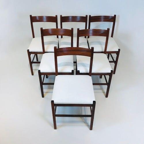 Ensemble de chaises italiennes en bois, Italie années 1960