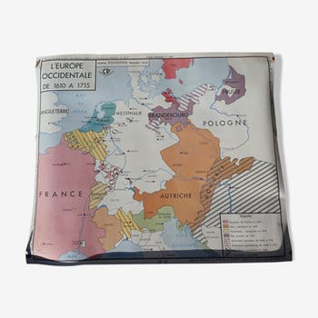 Rossignol map, school poster No. 13 of Western Europe from 1610 to 1715