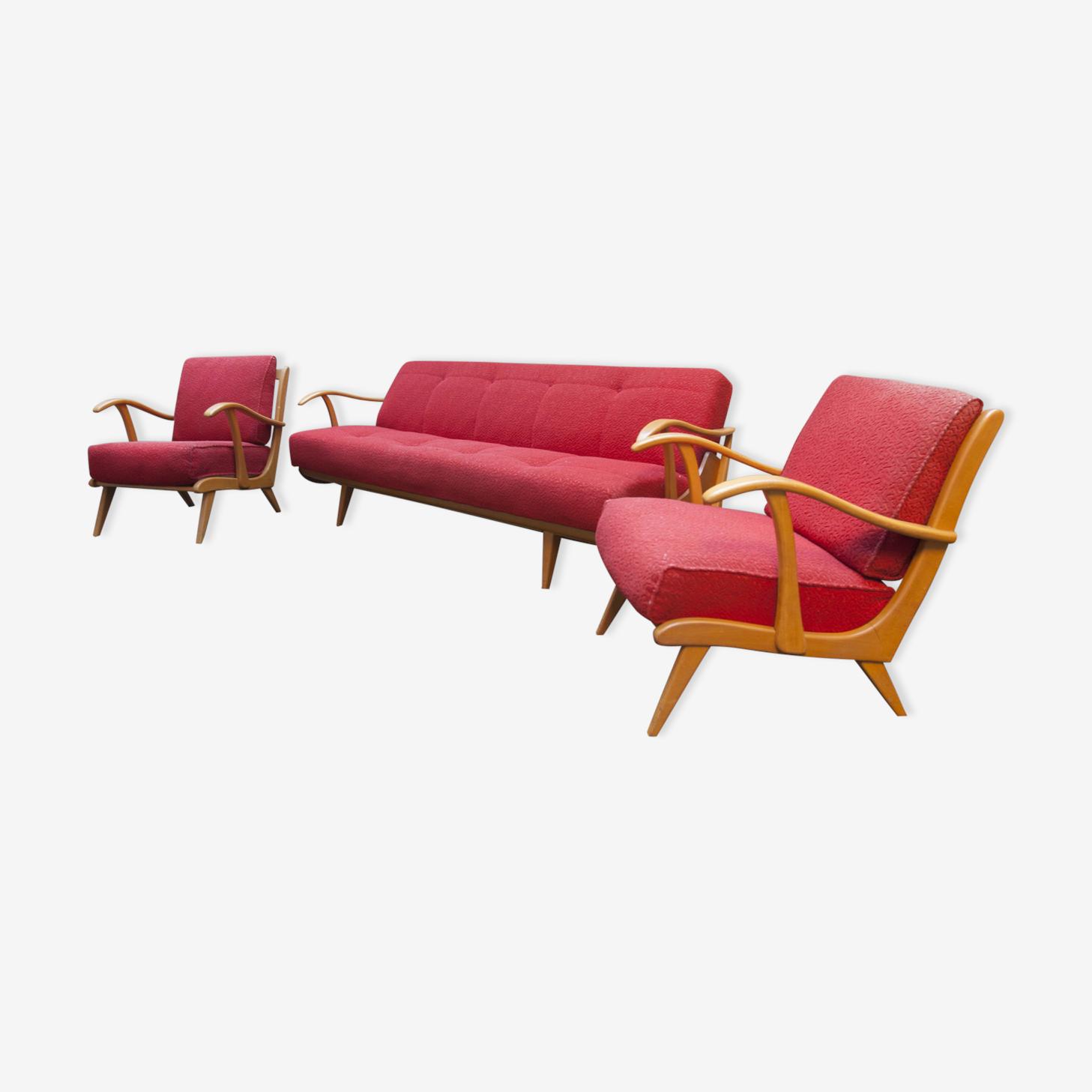 Salon scandinave rouge daybed et 2 fauteuils