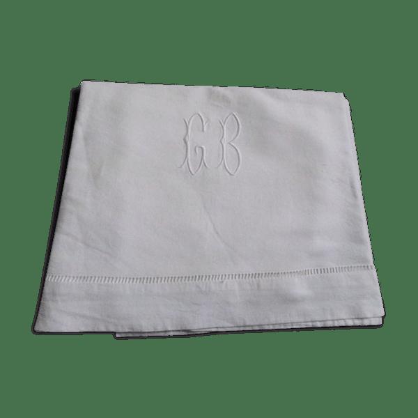 drap ancien en fil de lin brod tissu blanc vintage k1fxoxr. Black Bedroom Furniture Sets. Home Design Ideas